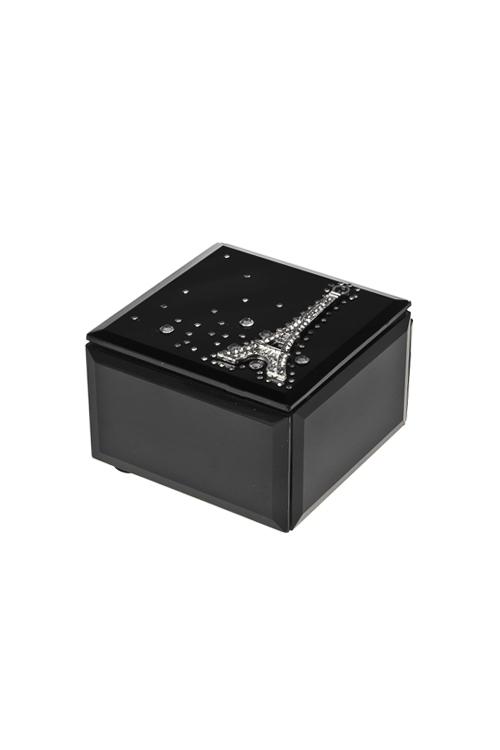 Шкатулка ПарижШкатулки и наборы по уходу<br>9*6см, стекло, черная<br>