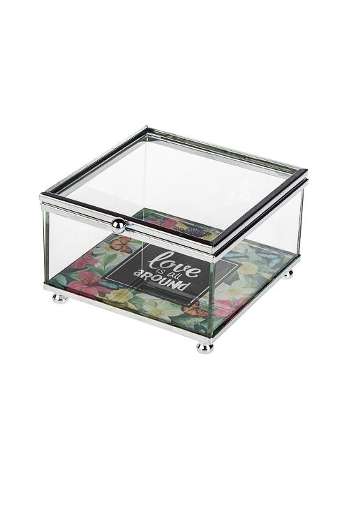 Шкатулка Прекрасный садШкатулки для украшений<br>10*10*6.5см, стекло, металл<br>