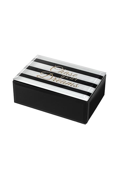 Шкатулка МечтаШкатулки для украшений<br>15*10см, стекло, черно-белая<br>