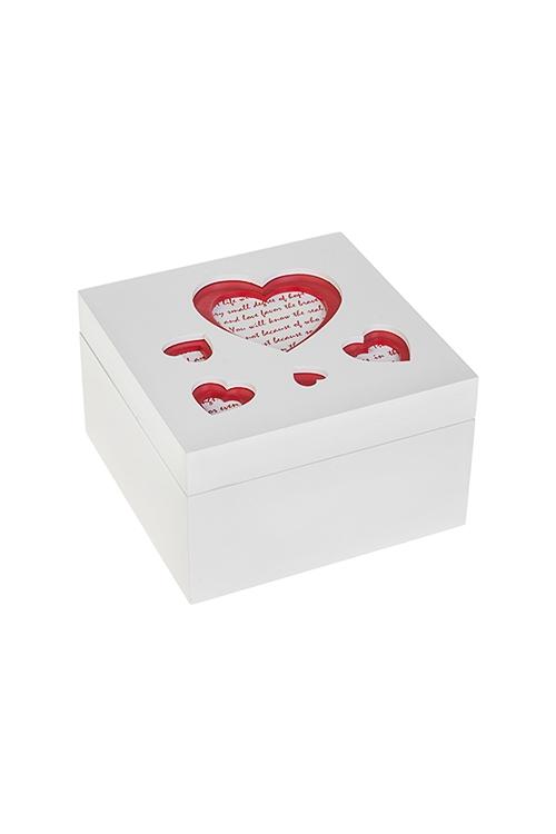 Шкатулка Любовное посланиеШкатулки для украшений<br>12*12*7см, МДФ, бело-красная<br>