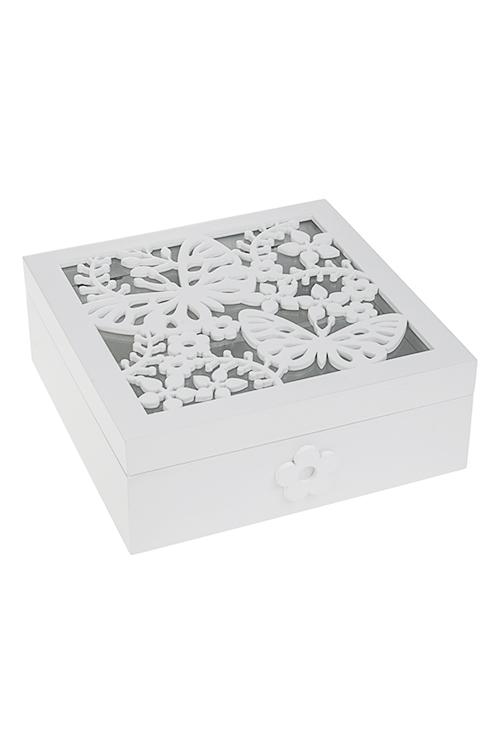 Шкатулка для ювелирных украшений БабочкиШкатулки для украшений<br>17*17*6см, МДФ, 3 отдел., белая<br>
