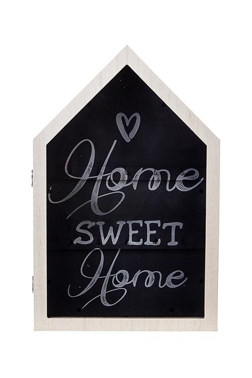 Ключница Милый домПодарки ко дню рождения<br>21*32см, МДФ, стекло, бело-крем.-черная, с подсветкой, на батар.<br>
