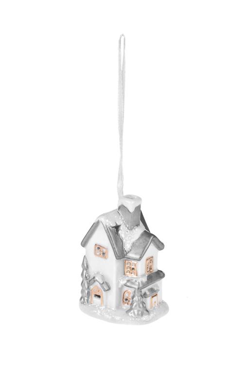 Украшение для интерьера светящееся ДомСветящиеся украшения<br>5*5*9см, фарфор, бело-серебр., подвесное, на батар.<br>