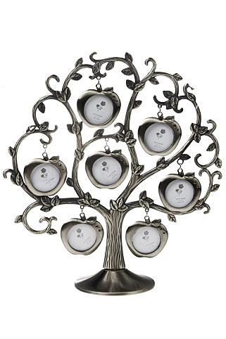 Рамка для 7-ми фото Семейное деревоИнтерьер<br>Выс=26см, металл, пластик, серебряный<br>