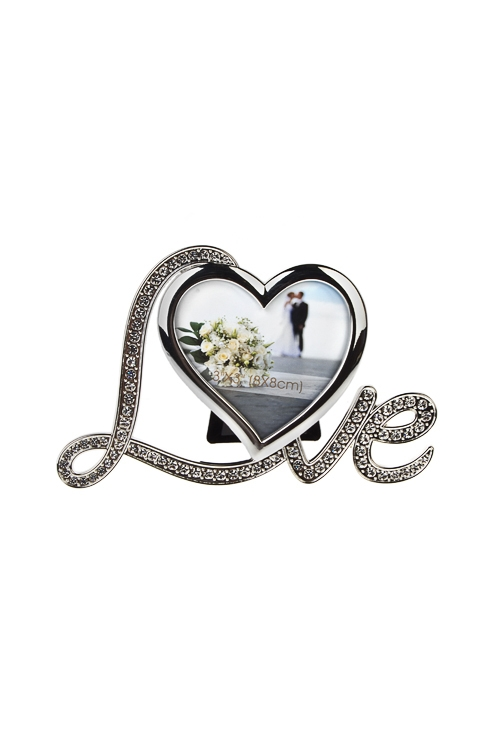 Рамка для фото Настоящая любовьИнтерьер<br>16*11см, фото 8*8см, металл, серебр.<br>