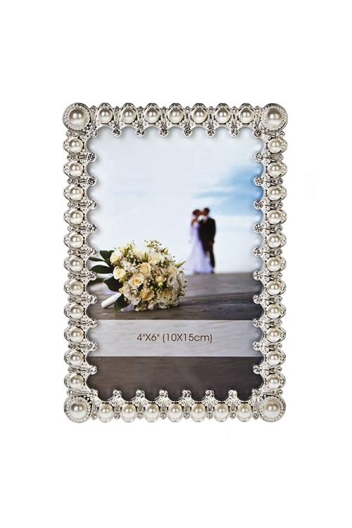 Рамка для фото Изящные жемчужиныПодарки ко дню рождения<br>12*16см, фото 10*15см, металл, крем.-серебр.<br>