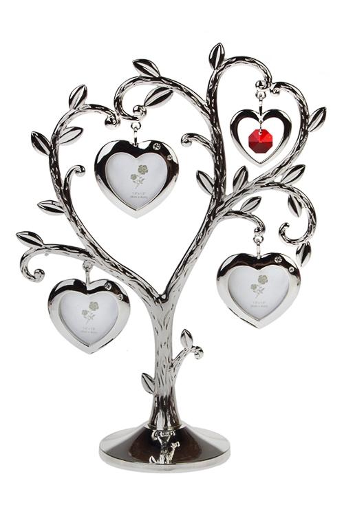 Рамка для 3-х фото Древо любвиРамки семейное дерево<br>17*7*24см, фото 3.5*3.5см, металл, серебр.<br>