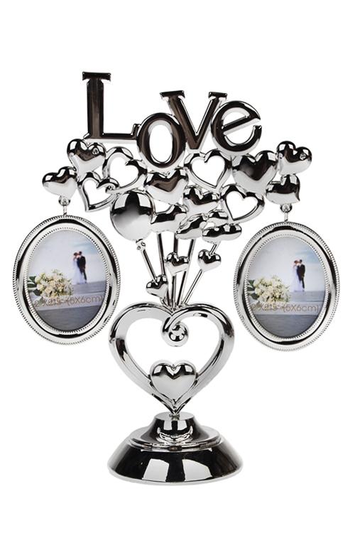 Рамка для 2-х фото Любовь и шарикиРамки семейное дерево<br>16*21*10см, фото 7*5см, металл, серебр.<br>
