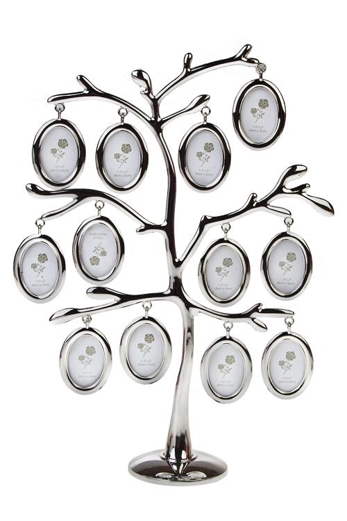 Рамка для 12-ти фото Изящное деревоИнтерьер<br>22*7*21см, фото 4*5см, металл, серебр.<br>