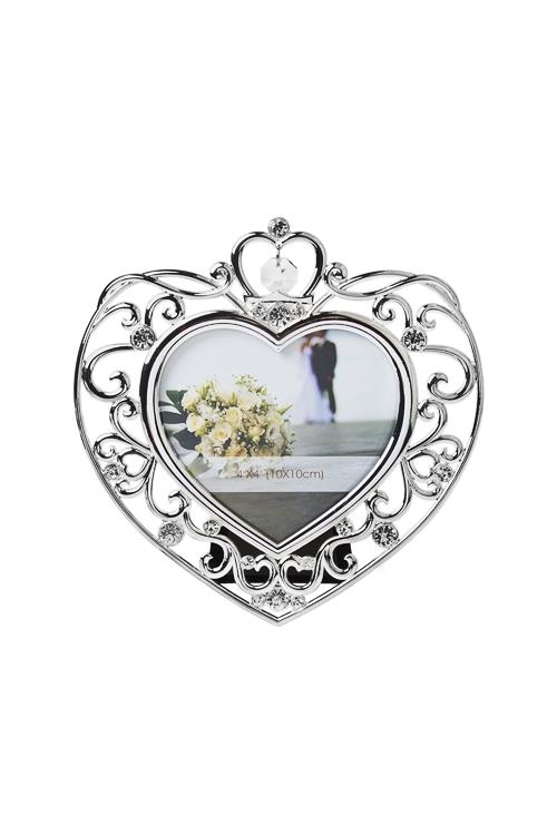 Рамка для фото Нежное сердцеМеталлические фоторамки<br>15.5*16см, фото 10*10см, металл, серебр.<br>