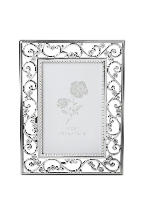 Рамка для фото Изящные узорыИнтерьер<br>16*21см, фото 10*15см, металл, серебр., со стразами<br>