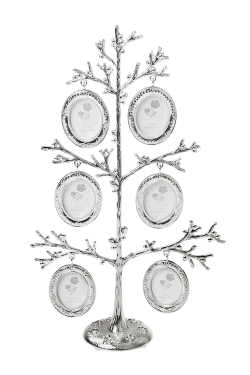 Рамка для 6-ти фото Семейное деревоИнтерьер<br>18*7*31см, фото 4*5см, металл, серебр.<br>