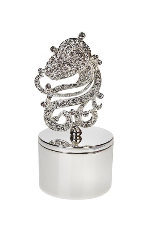 Шкатулка КозерогШкатулки для украшений<br>5*10см, металл, серебр.<br>