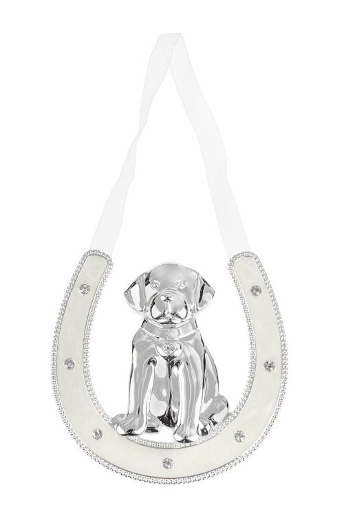 Украшение для интерьера Песик - счастливый носикПодарки<br>10*10см, металл, крем.-серебр.<br>