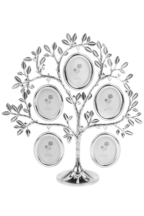 Рамка для 5-ти фото Изящное деревоПодарки<br>25*7*27см, фото 5*6см, металл, серебр.<br>