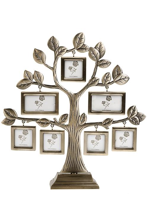 Рамка для 7-ми фото Семейное древоПодарки<br>26*5*28см, фото 4*4см, 4*6см, металл, золот.<br>