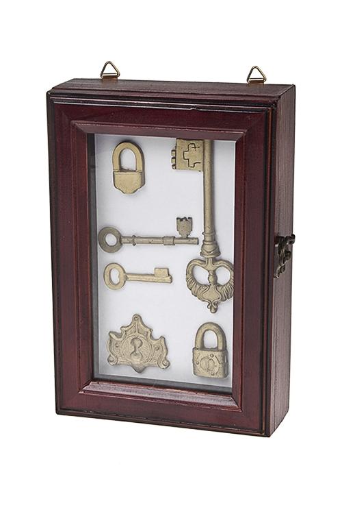Ящик для ключей Счастливые ключиИнтерьер<br>25*6*17см, дерево, стекло, полирезин, коричн.-золот.<br>