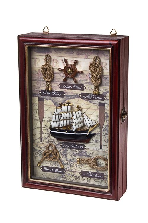 Ящик для ключей Великий мореплавательПодарки на 23 февраля<br>20*6*30см, дерево, стекло, коричн.-золот.<br>