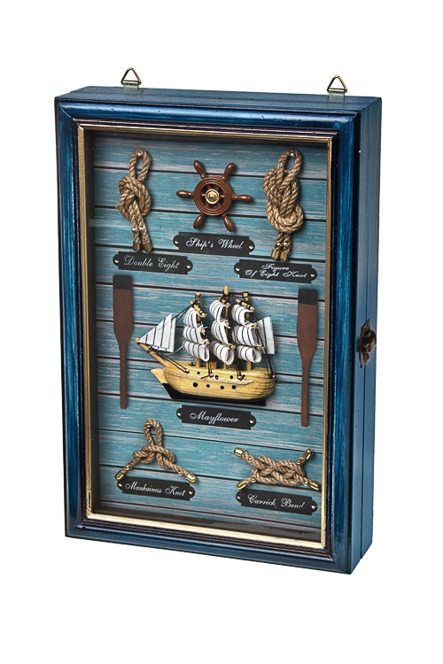 Ящик для ключей Великий мореплавательПодарки на 23 февраля<br>20*6*30см, дерево, стекло, сине-зеленый<br>
