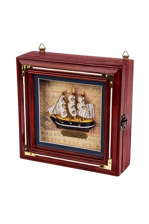 Ящик для ключей Великий мореплавательПодарки ко дню рождения<br>20*6*20см, дерево, стекло, крем.-коричн.<br>