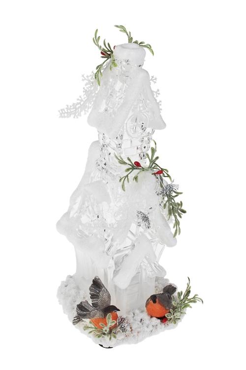 Украшение для интерьера светящееся Сказочный дом со снегирямиСветящиеся украшения<br>Выс=24см, акрил, полирезин, на батар.<br>