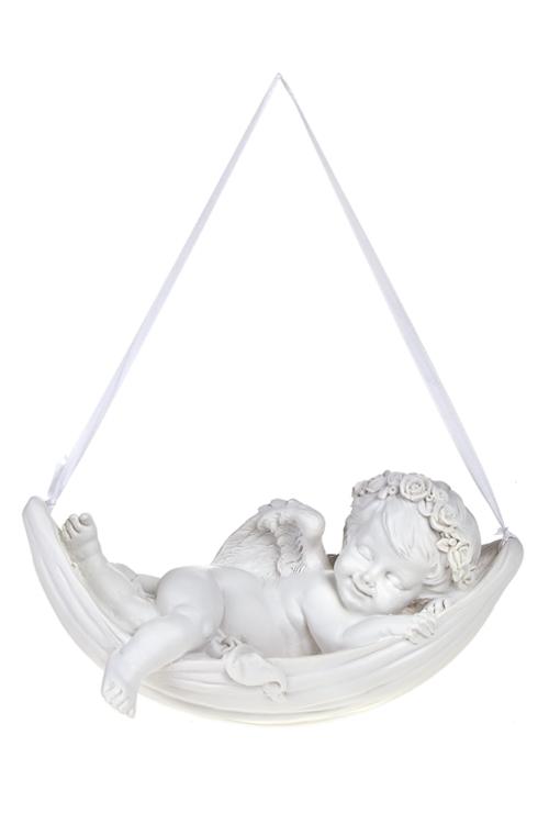 Фигурка садовая Ангел в гамакеИнтерьер<br>Дл=20.5см, полирезин, подвесная, белая (2 вида)<br>