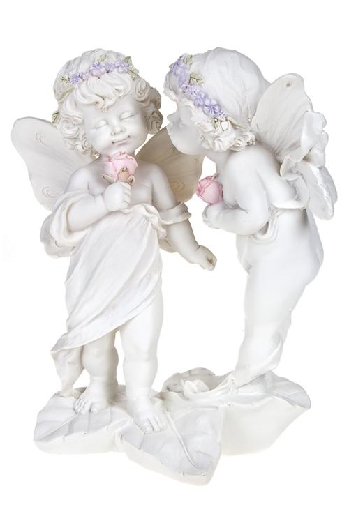 Фигурка садовая Влюбленные с цветамиИнтерьер<br>Выс=23см, полирезин, белая<br>