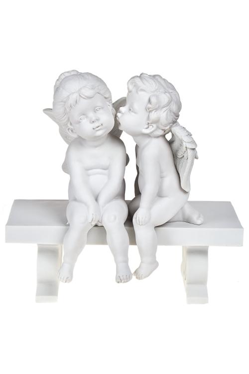 Фигурка садовая Ангелы на лавочкеИнтерьер<br>30*30см, полирезин, белая<br>