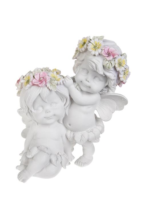 Фигурка садовая Влюбленная парочкаСтатуэтки для сада и дачи<br>15*18см, полирезин, белая<br>