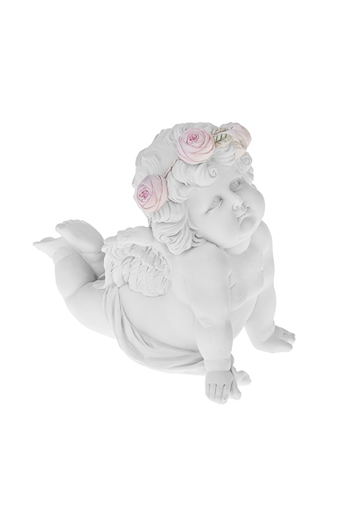 Фигурка садовая Милый ангелСадовые фигурки<br>19*10*15см, полирезин, белая<br>