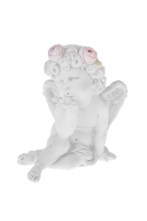 Фигурка садовая Воздушный поцелуй амураСадовые фигурки<br>18*20см, полирезин, белая<br>