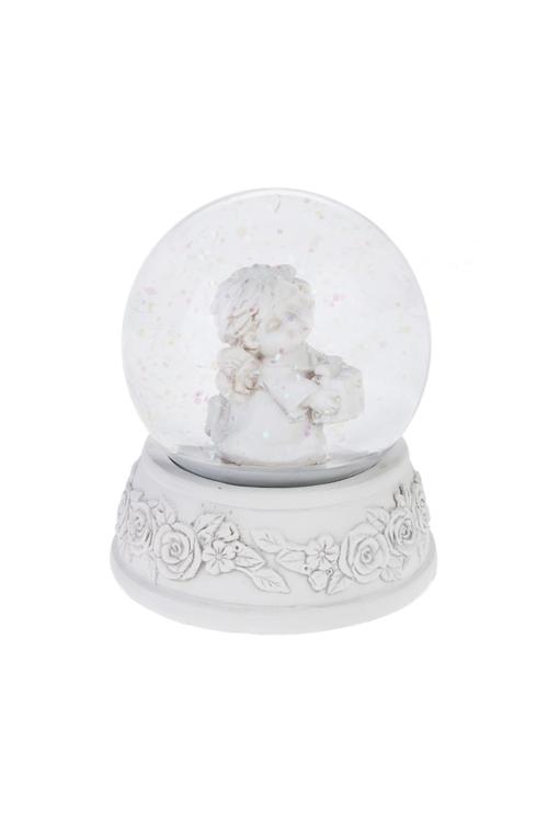 Шар со снегом Милый ангелочекСувениры и упаковка<br>Выс=8см, полирезин, стекло, крем. (2 вида)<br>