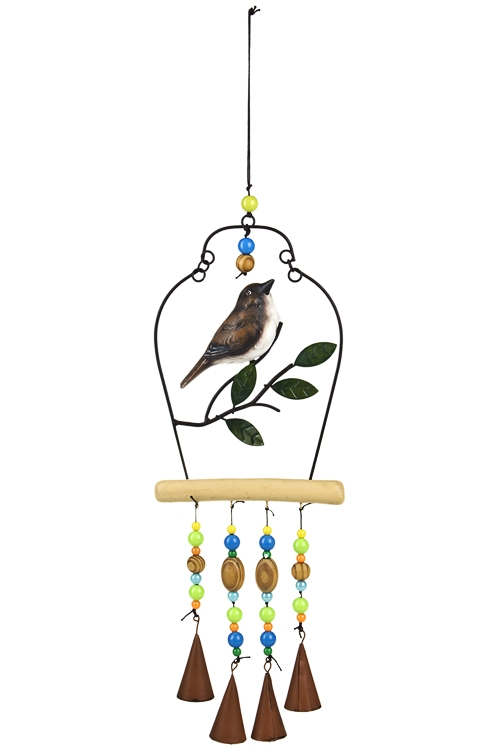 Украшение для интерьера Птичка на веткеВыс=44см, полирезин, металл, разноцв., подвесное<br>
