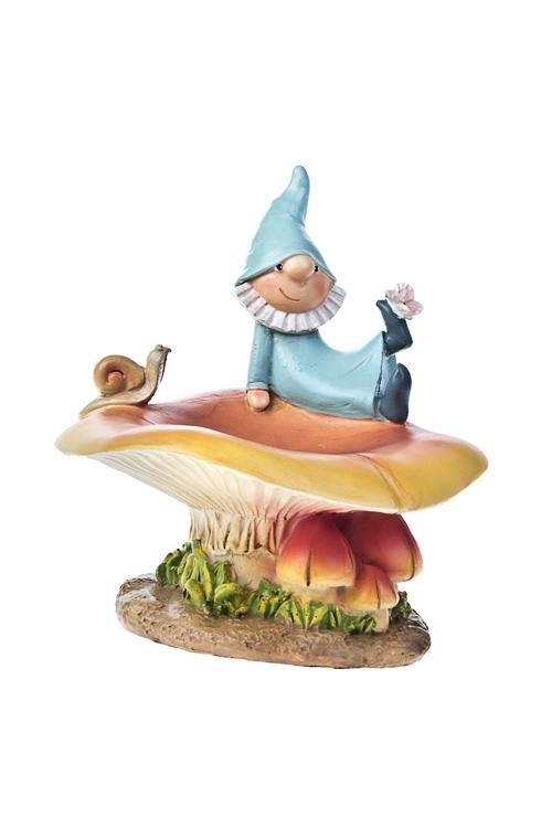Фигурка садовая с кормушкой для птиц Гном БоббиСадовые фигурки<br>17*15*10см, полирезин<br>