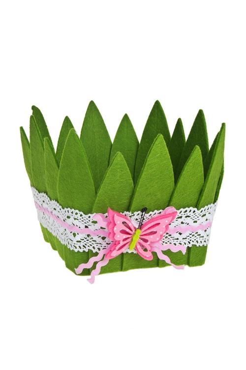 Кашпо декоративное БабочкаКашпо для цветов<br>20*16.5см, фетр, зелено-розовое<br>
