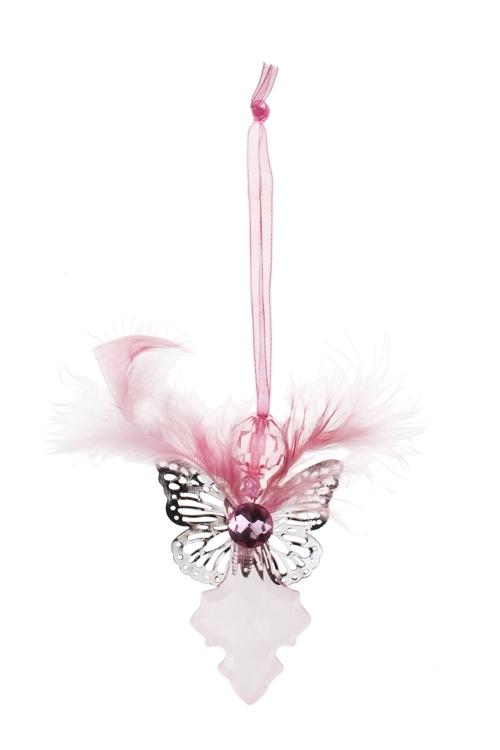 Украшение декоративное Нежный ангелЕлочные игрушки<br>Выс=15см, акрил, св.-розовое, подвесное<br>