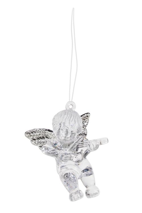 Украшение декоративное Музыкальный ангелочекЕлочные игрушки<br>Выс=6см, акрил, прозр.-серебр., подвесное<br>