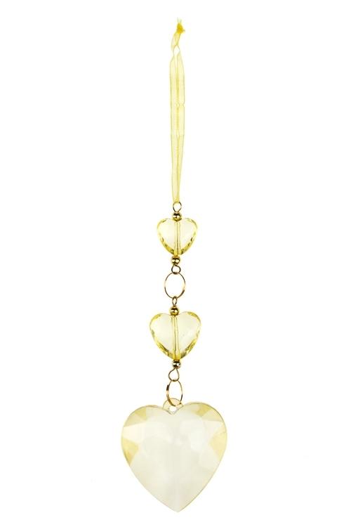 Украшение декоративное СердечкиПодарки<br>Выс=23см, акрил, лимонное, подвесное<br>