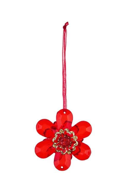 Украшение декоративное ЦветочекДекоративные гирлянды и подвески<br>Выс=6см, акрил, красное, подвесное<br>