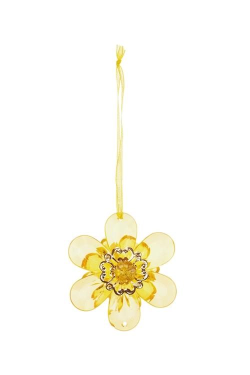 Украшение декоративное ЦветочекСувениры и упаковка<br>Выс=6см, акрил, золот., подвесное<br>