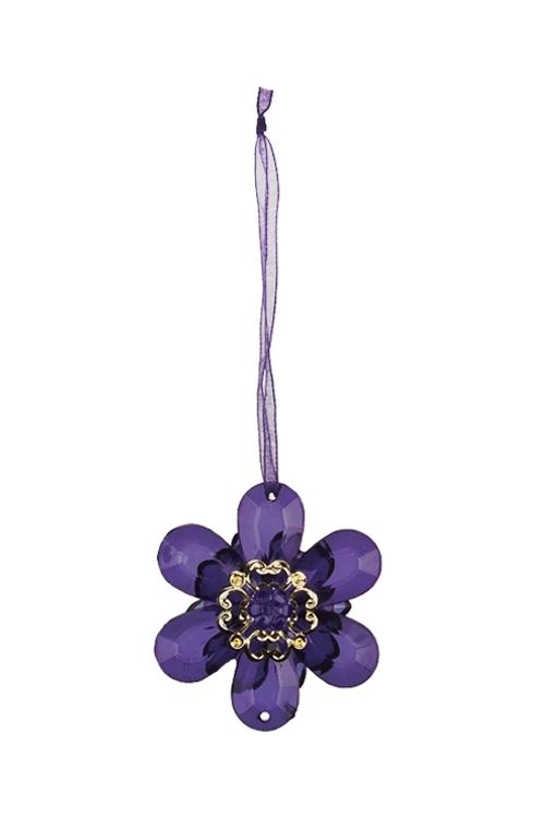 Украшение декоративное ЦветочекСувениры и упаковка<br>Выс=6см, акрил, фиолет., подвесное<br>