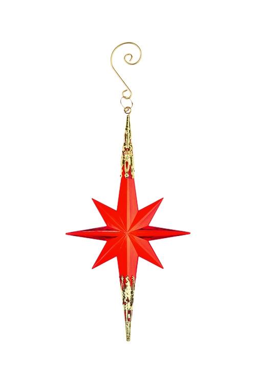 Украшение декоративное Яркая звездочкаДекоративные гирлянды и подвески<br>Выс=20см, акрил, красное, подвесное<br>