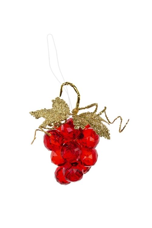 Украшение декоративное Гроздь виноградаСувениры и упаковка<br>Выс=7.5см, акрил, красное, подвесное<br>