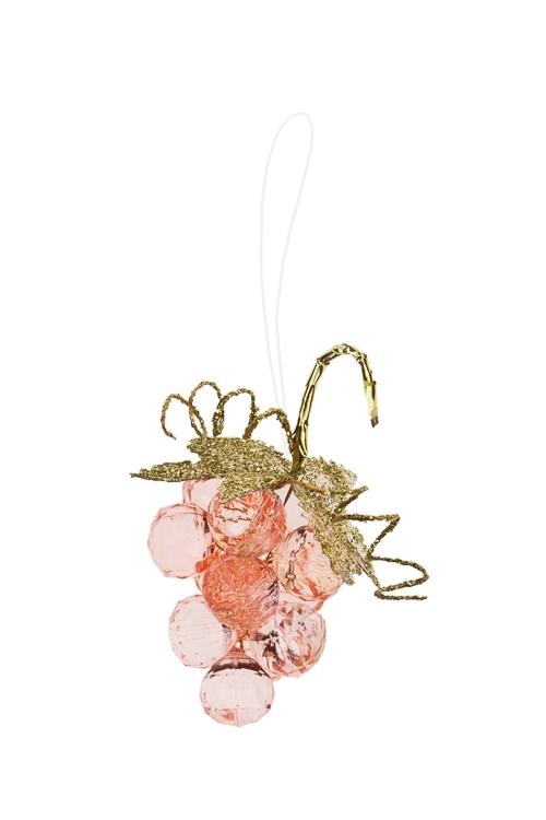 Украшение декоративное Гроздь виноградаСувениры и упаковка<br>Выс=7.5см, акрил, св.-розовое, подвесное<br>