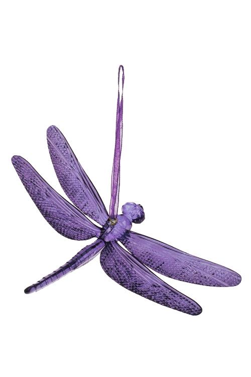 Украшение декоративное СтрекозаСувениры и упаковка<br>9*14см, акрил, фиолет., подвесное<br>