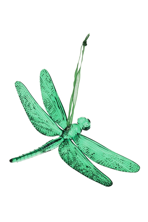 Украшение декоративное СтрекозаСувениры и упаковка<br>9*14см, акрил, темно-зеленое, подвесное<br>