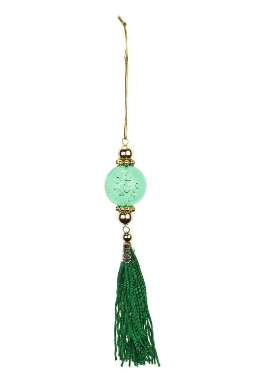 Украшение декоративное КисточкаСувениры и упаковка<br>Выс=20см, акрил, зеленое, подвесное<br>