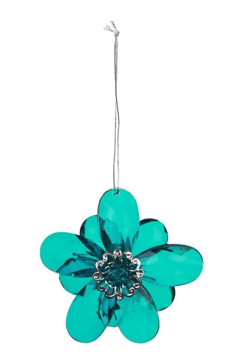 Украшение декоративное Сказочный цветокДекоративные гирлянды и подвески<br>Выс=8см, акрил, бирюз., подвесное<br>