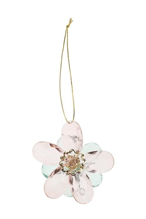 Украшение декоративное Сказочный цветокСувениры и упаковка<br>Выс=8см, акрил, мятно-розовое, подвесное<br>