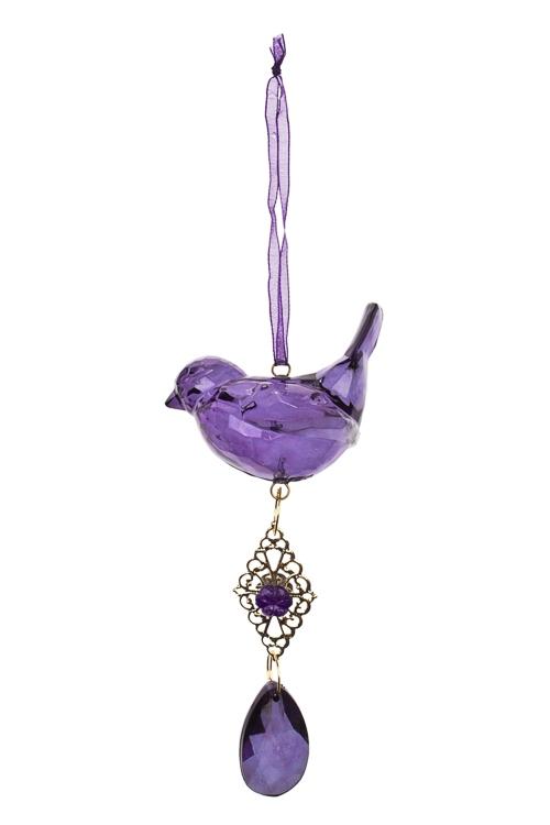 Украшение декоративное ПтичкаСувениры и упаковка<br>Выс=19см, акрил, фиолет., подвесное<br>